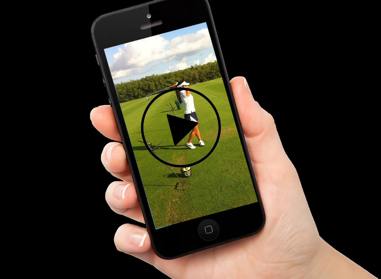 iPhone with golf video