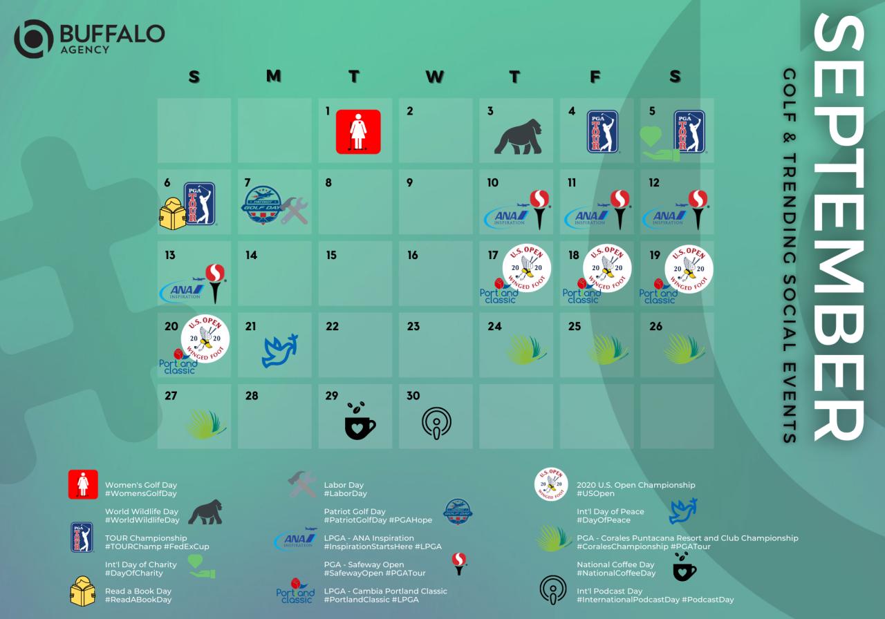 September Golf & Trending Event Social Media Calendar | Buffalo Agency